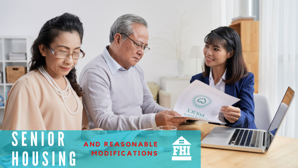 Leasing agent assisting senior housing residents with a reasonable modification application.